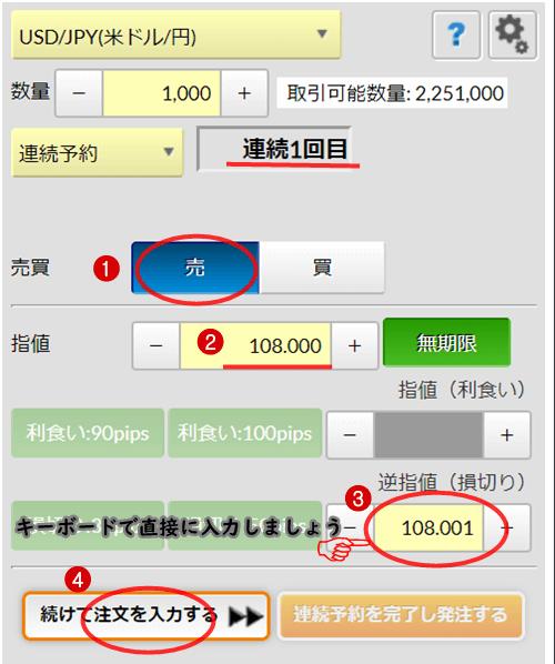 連続予約注文逆指値方法1
