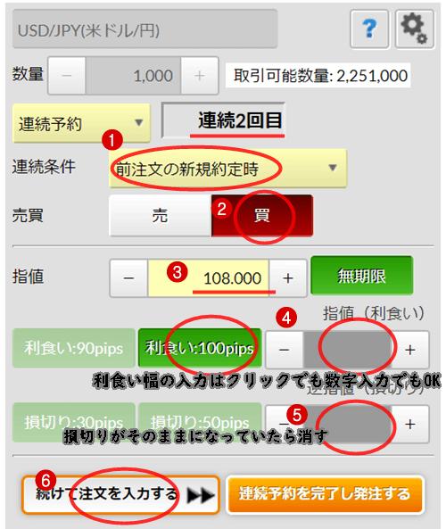 連続予約注文逆指値方法2