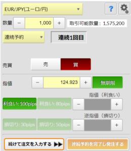 連続予約注文ユーロ/円1